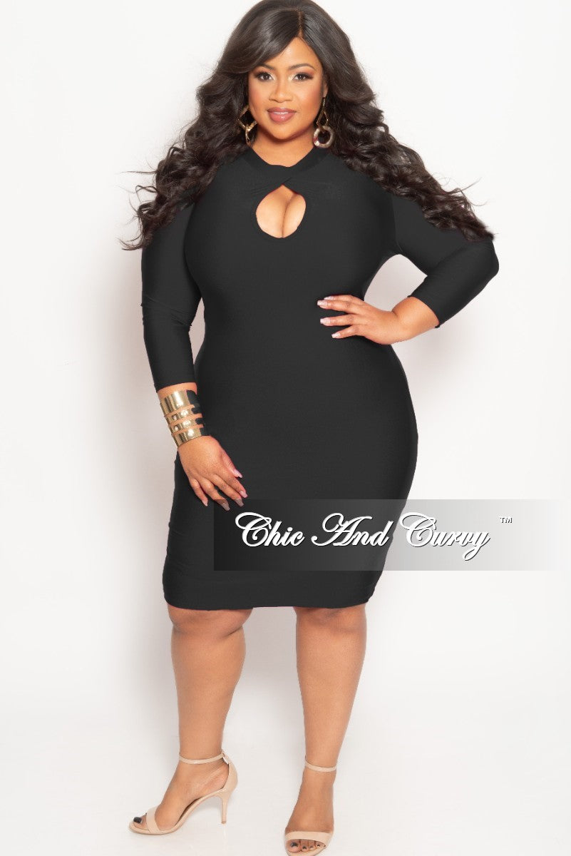 Final Sale Plus Size BodyCon Dress with Front Keyhole in Black