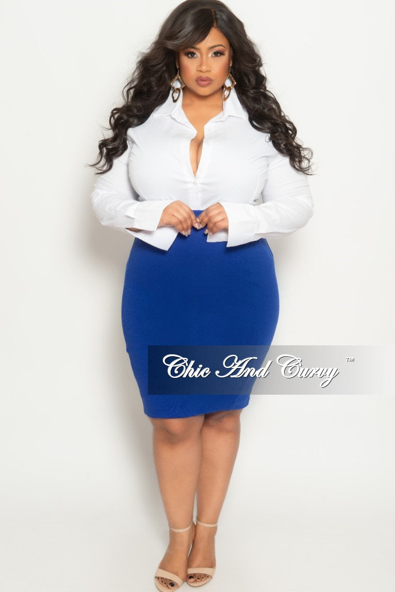 2fde5858ba1 New Plus Size Pencil Skirt in Royal Blue – Chic And Curvy