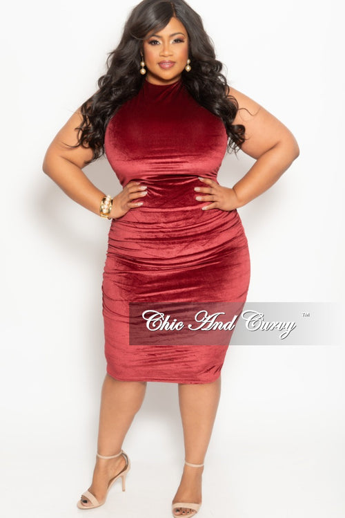 Final Sale Plus Size Faux Velvet BodyCon with Ruched Sides in Burgundy