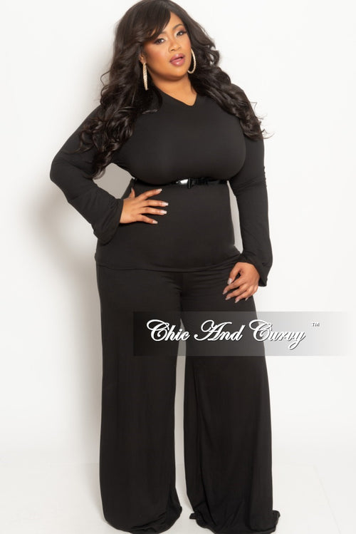Final Sale Plus Size 2-Piece Long Sleeve Top and Pants Set in Black
