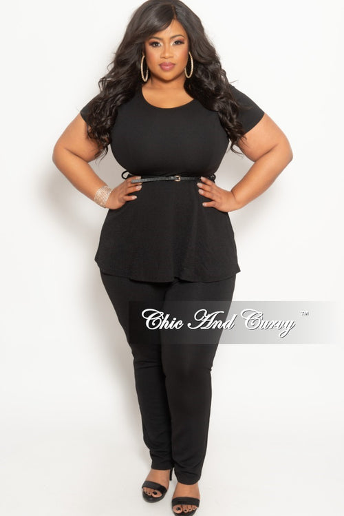 New Plus Size 2-Piece Peplum Top and Pants Set in Black