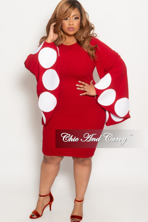Final Sale Plus Size BodyCon Dress with Polka Dot Bell Sleeves in Red