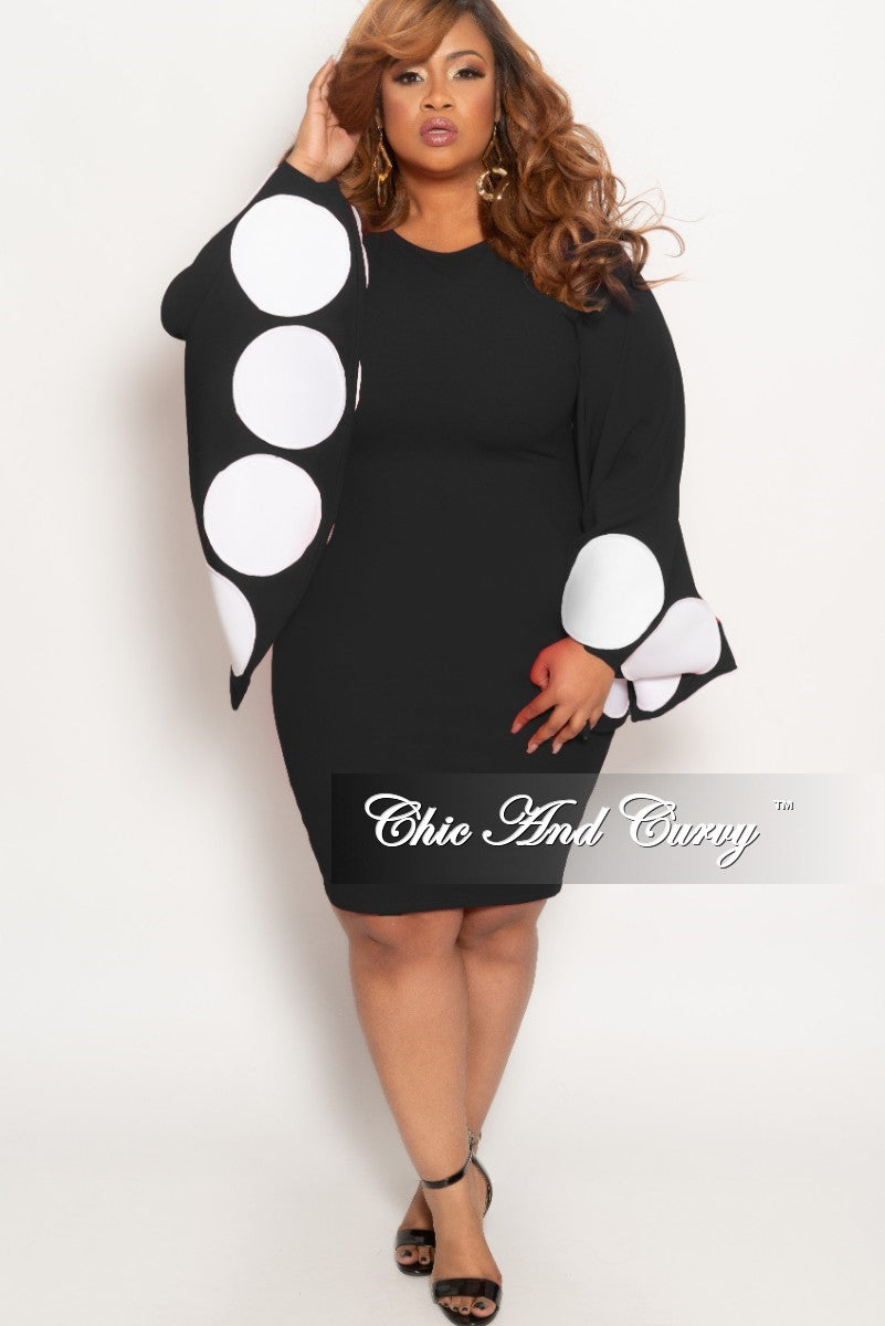14867c1d74212 Final Sale Plus Size BodyCon Dress with Polka Dot Bell Sleeves in Blac –  Chic And Curvy