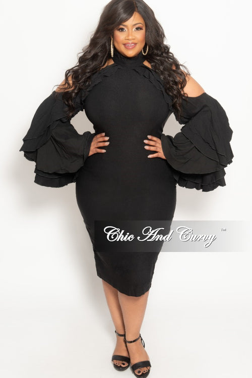 New Plus Size Cold Shoulder BodyCon Dress with Bell Sleeves in Black