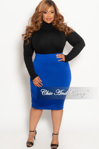Final Sale Plus Size Patent-Leather Pencil Skirt with Gold Back Zipper and Bottom Slit in Red