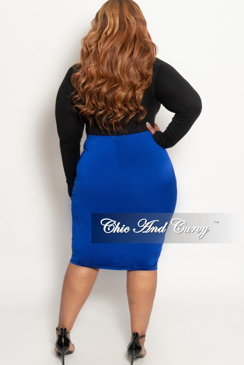 New Plus Size Pencil Skirt in Royal Blue