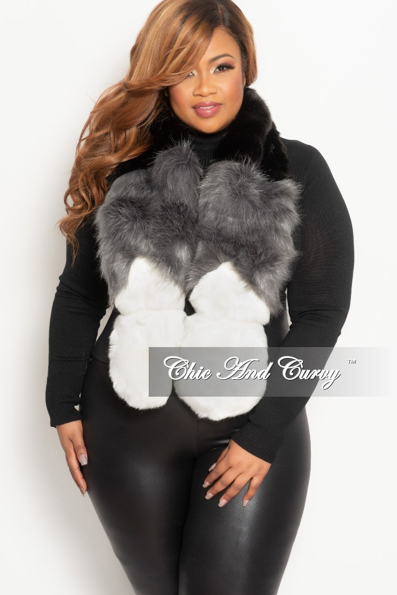 Final Sale Faux Fur Scarf in Black, White and Grey