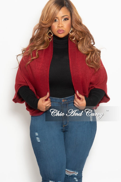 New Plus Size Sweater Cardigan in Burgundy