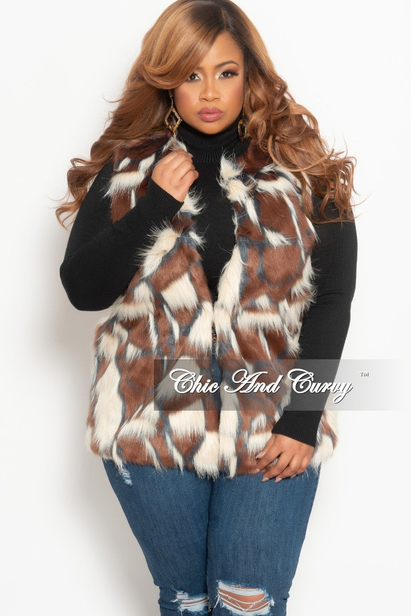 Final Sale Plus Size Faux Fur Vest in Black and Brown a1e0d1057c84