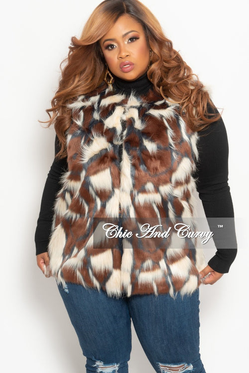 Final Sale Plus Size Faux Fur Vest in Black and Brown, Beige and Blue (One Size)