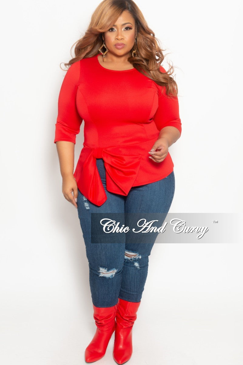 New Plus Size Top with 3/4 Sleeves and Bottom Bow in Red