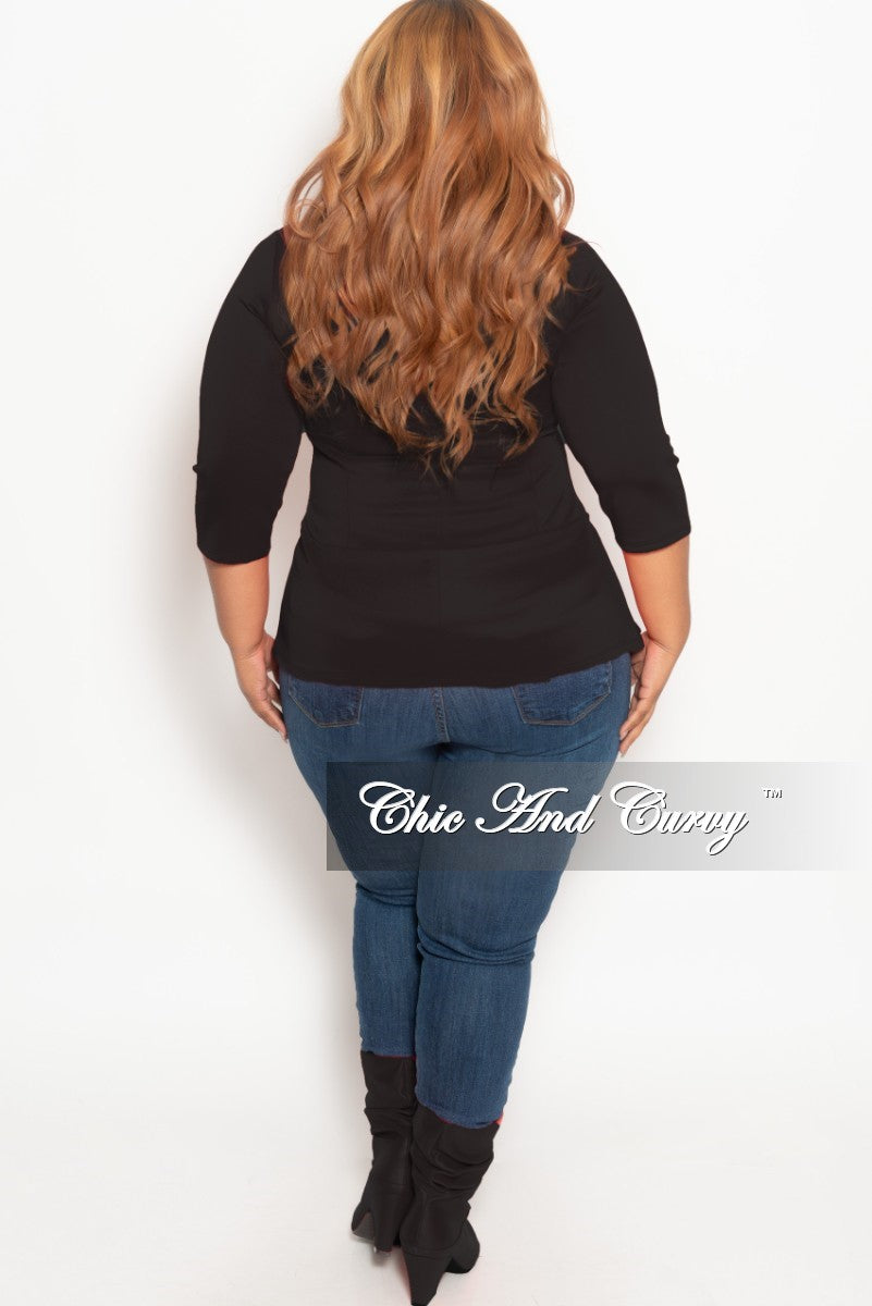 New Plus Size Top with 3/4 Sleeves and Bottom Bow in Black