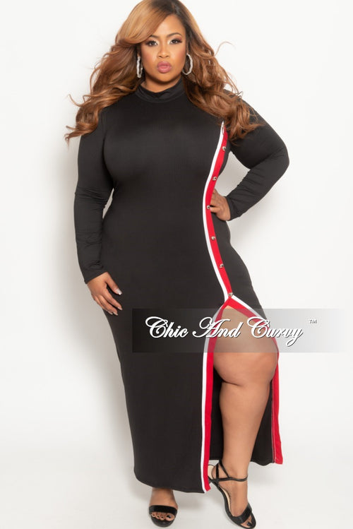 New Plus Size Long Sleeve BodyCon Dress with Side Buttons in Black and Red/White Trim