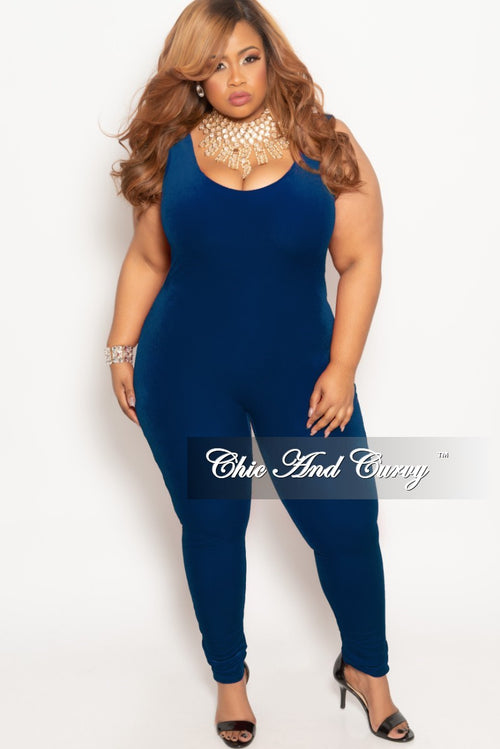 Final Sale Plus Size Velvet Bodysuit/Jumpsuit in Royal Blue