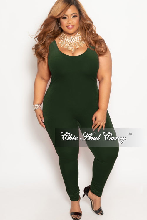 Final Sale Plus Size Velvet Bodysuit/Jumpsuit in Olive
