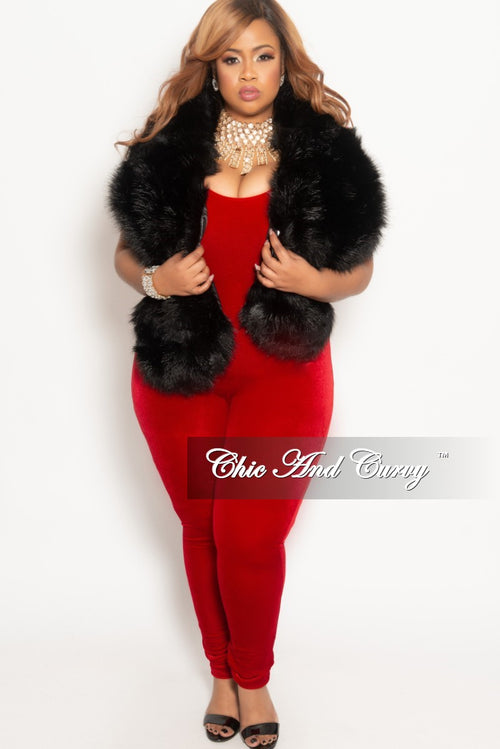 Final Sale Plus Size Velvet Bodysuit/Jumpsuit in Red