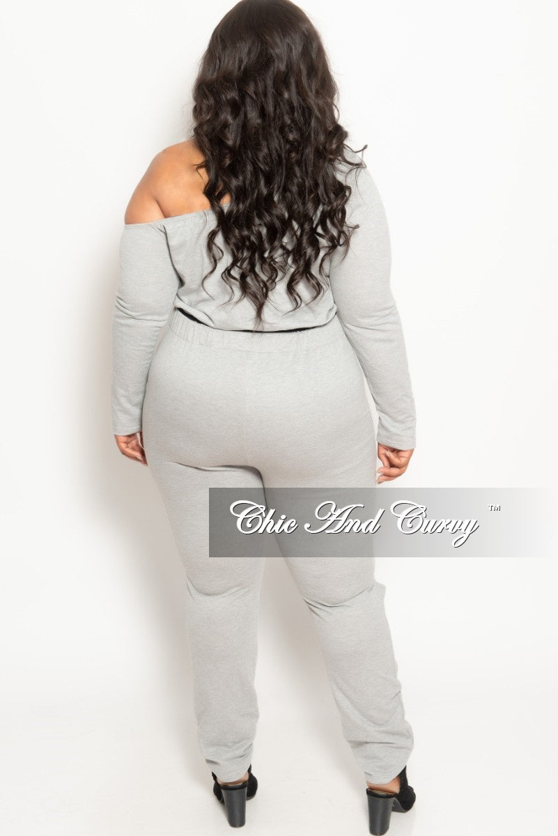 New Plus Size 2-Piece Off the Shoulder Jogger Suit with Open Knee in Grey