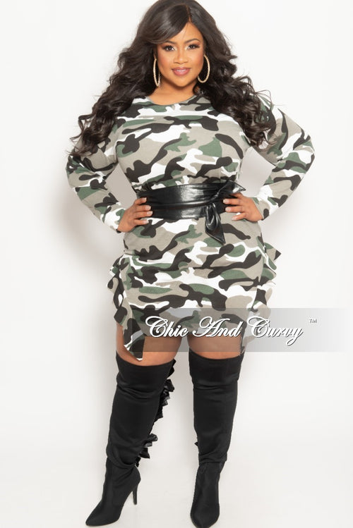 Final Sale Plus Size Tunic Dress with Ruffle Bottom Line in Hunter Green Camouflage Print