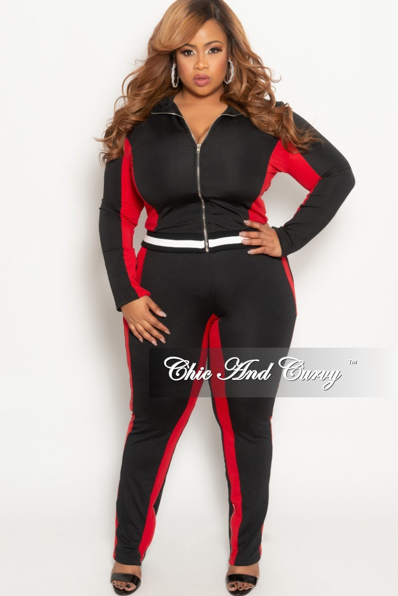 New Plus Size 2-Piece Jacket and Pants Set in Black/Red with Black/White Trim