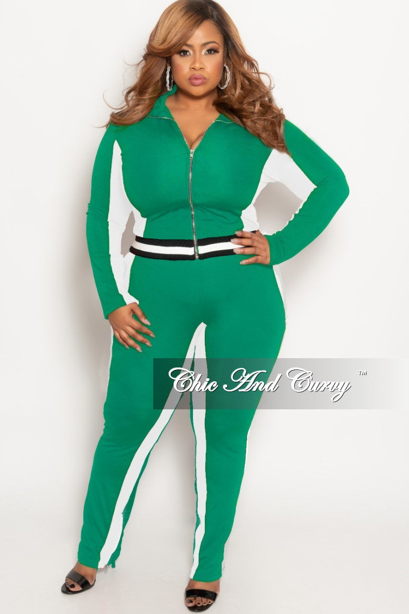 5a02599d76d New Plus Size 2-Piece Jacket and Pants Set in Green White with Black W –  Chic And Curvy