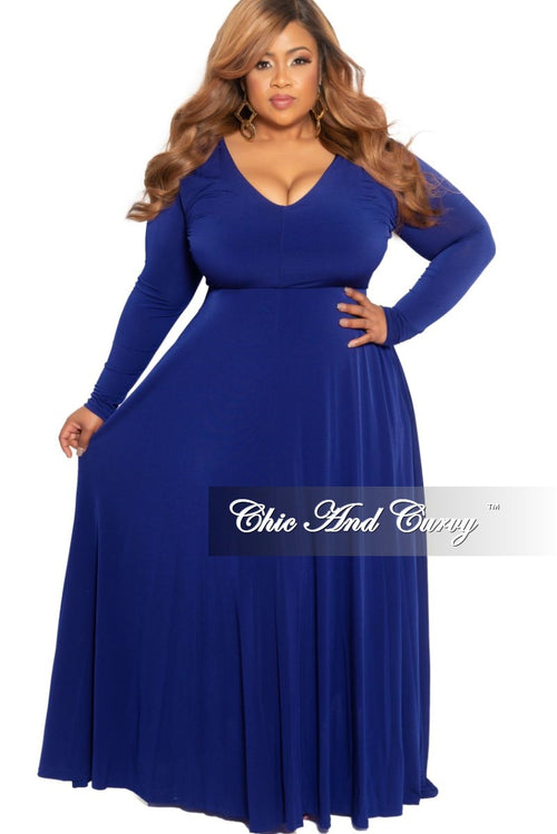 New Plus Size Long Sleeve V-Neck Maxi in Royal Blue