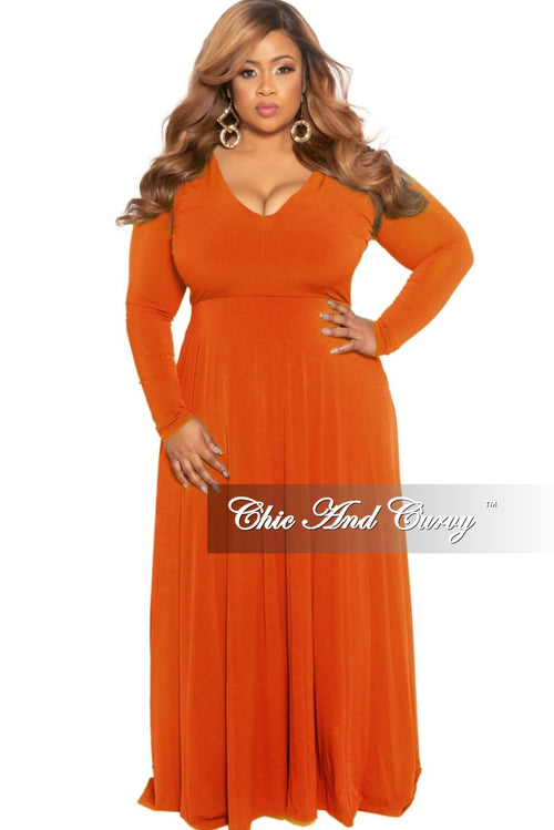 New Plus Size Long Sleeve V-Neck Maxi in Burnt Orange