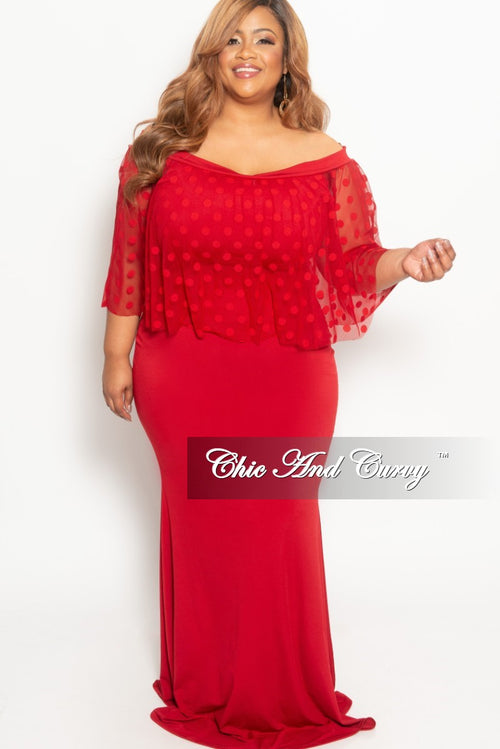 Final Sale Plus Size Polka Dot Mesh Overlay BodyCon Dress in Red