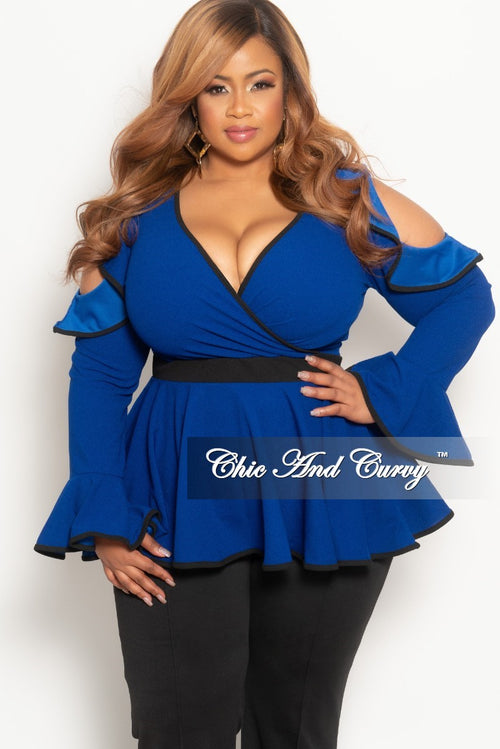 34c3f84cf3410c New Plus Size Cold Shoulder Faux Wrap Peplum Top with Bell Sleeves in Royal  Blue and