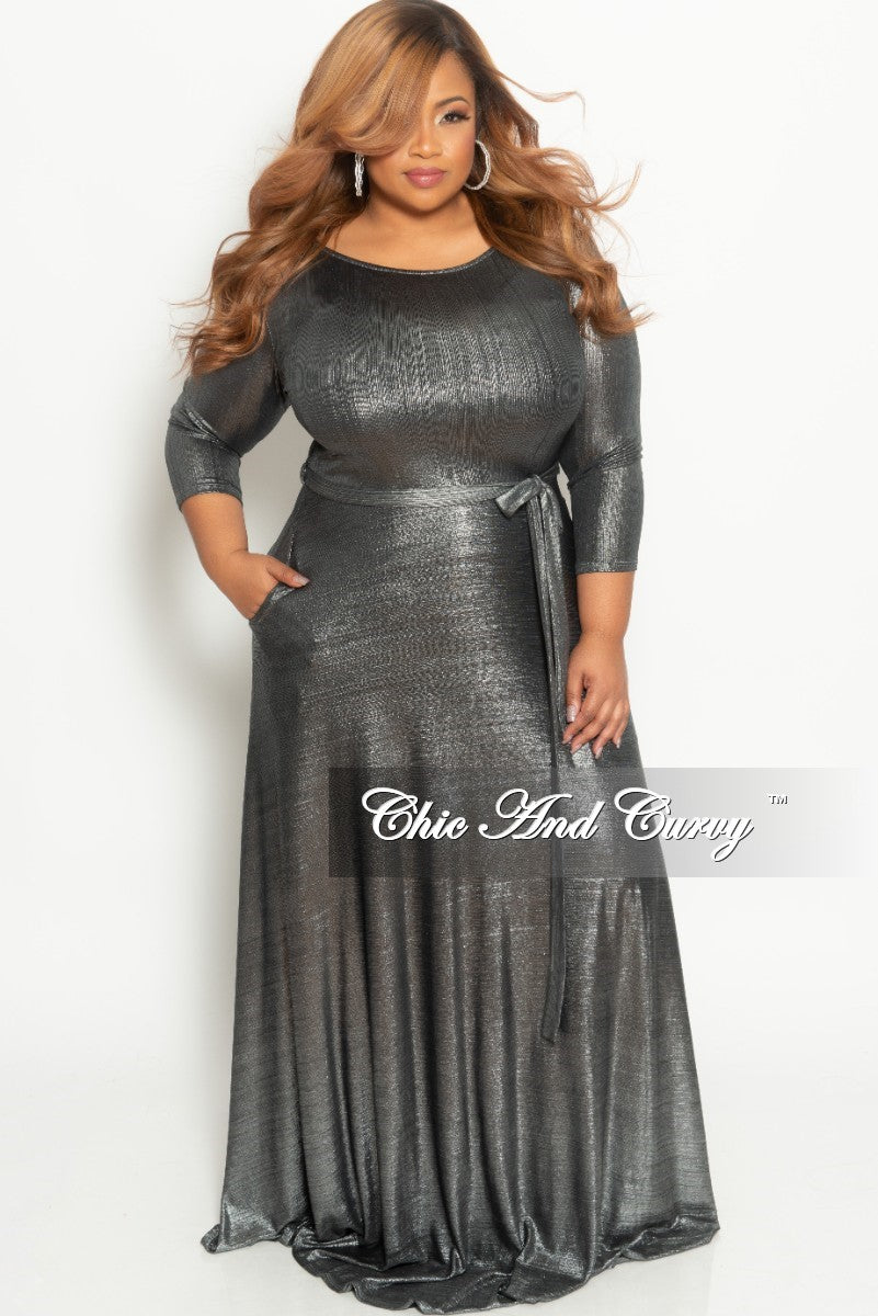 5d11e138d6c96 Final Sale Plus Size Gown with 3 4 Sleeves and Tie in Shiny Silver (Se –  Chic And Curvy