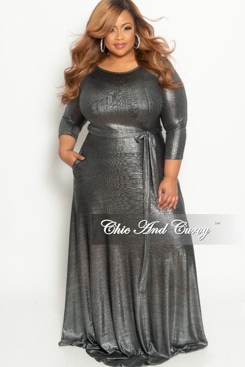 Final Sale Plus Size Gown with 3/4 Sleeves and Tie in Shiny Silver (Seasonal)
