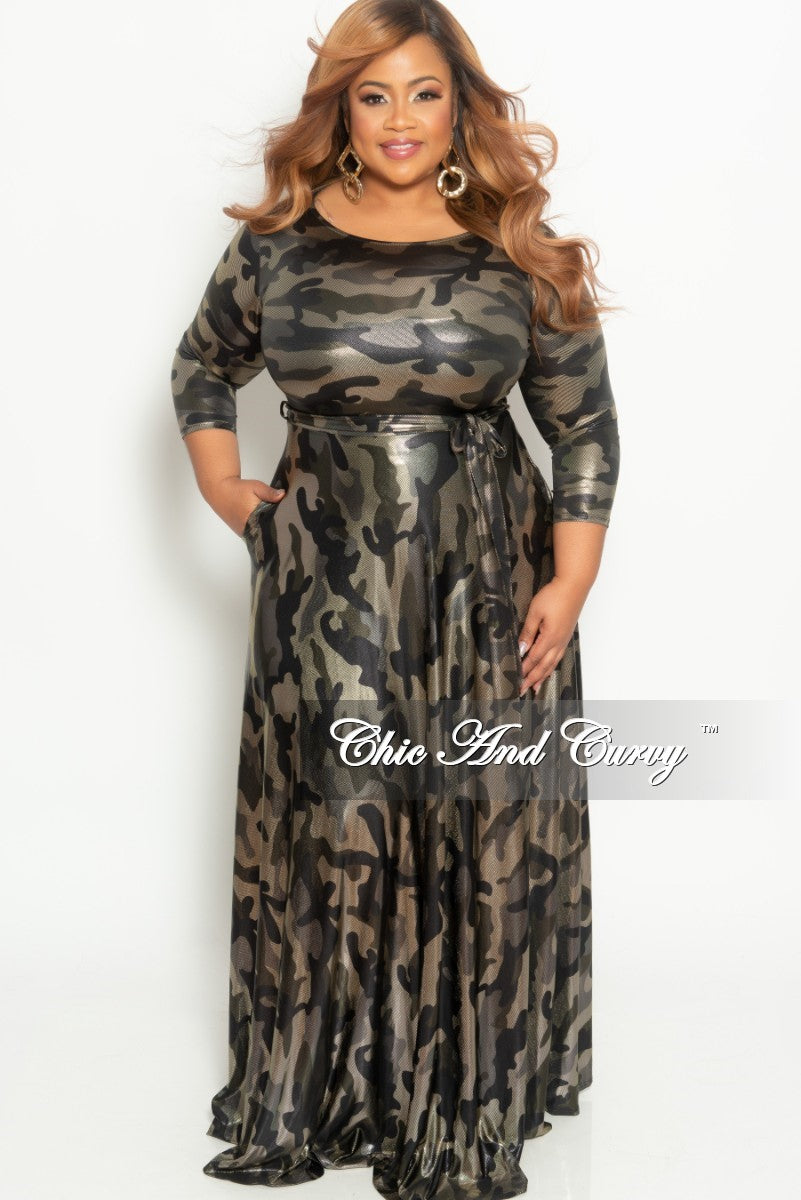 Final Sale Plus Size Gown with 3/4 Sleeves and Tie in Shiny Gold Camouflage Print (Seasonal)