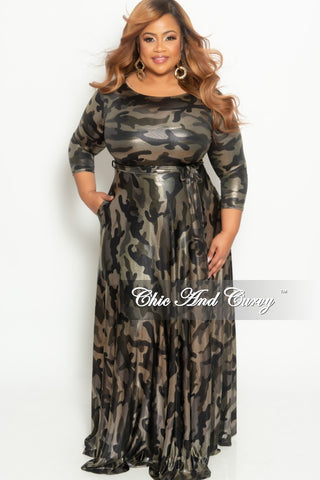 Final Sale Plus Size Glitter Jacquard 2-Piece Lounge Set with Tie in Gold, White and Black (Seasonal)