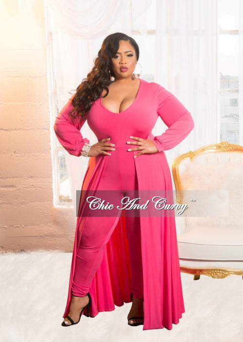 New Plus Size Jumpsuit with Attached Long Skirt in Hot Pink