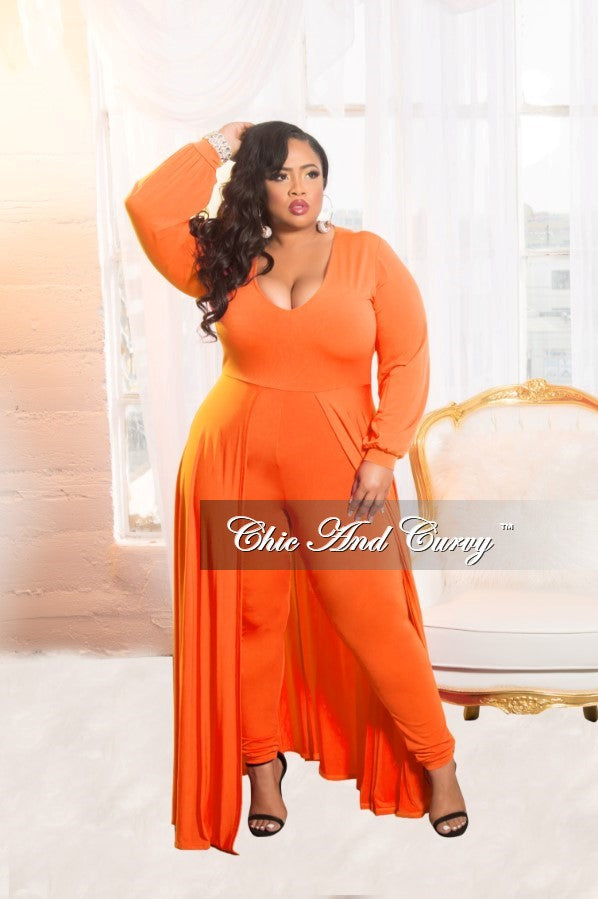 New Plus Size Jumpsuit with Attached Long Skirt in Orange