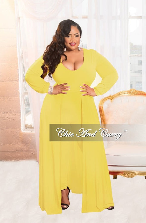 New Plus Size Jumpsuit with Attached Long Skirt in Yellow