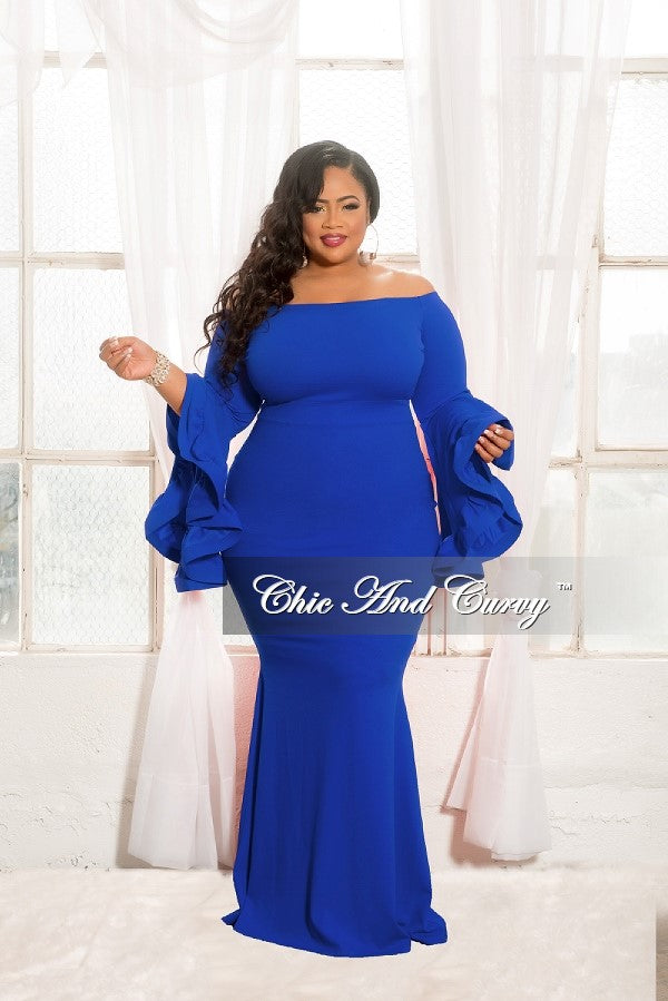 New Plus Size Off The Shoulder Mermaid Dress With Wide Ruffle