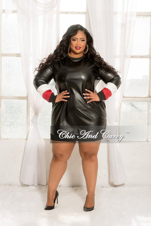 Final Sale  Plus Size Long Sleeve Dress with Red and White Trim in Black
