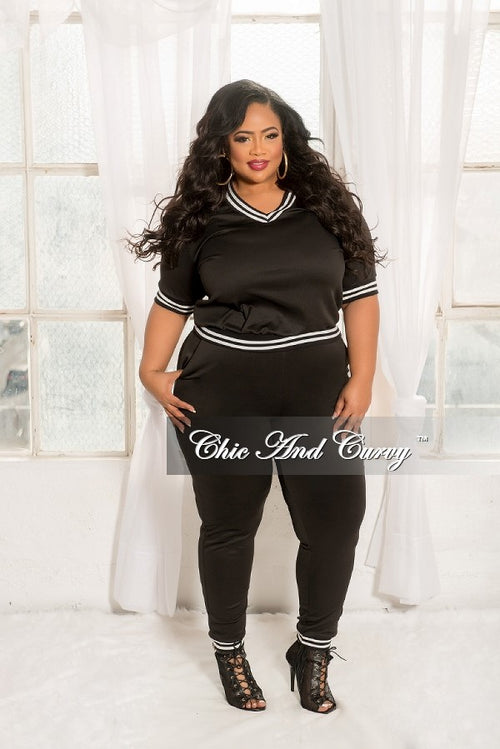 New Plus Size Sporty 2 Piece V-Neck Top and Pants with White Trim in Black