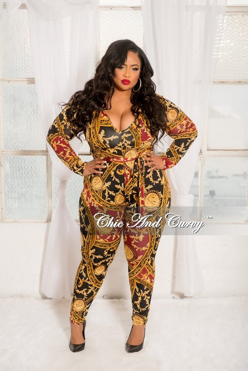 New Plus Size Long Sleeve V-Neck Jumpsuit with Attached Tie in Black, Burgundy and Gold