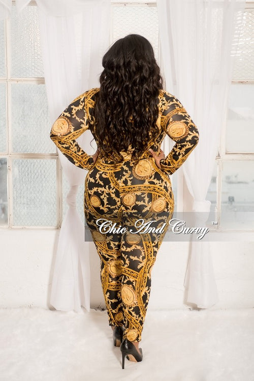 New Plus Size Long Sleeve V-Neck Jumpsuit with Attached Tie in Black and Gold