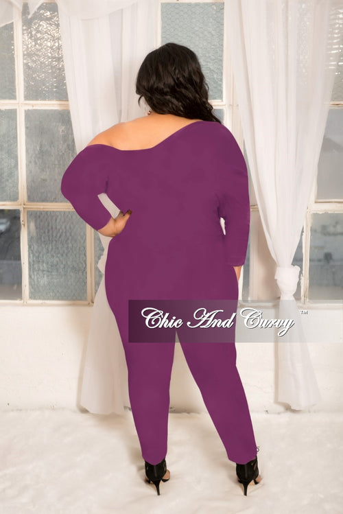 New Plus Size Off the Shoulder Jumpsuit with Silver Side Zipper in Purple
