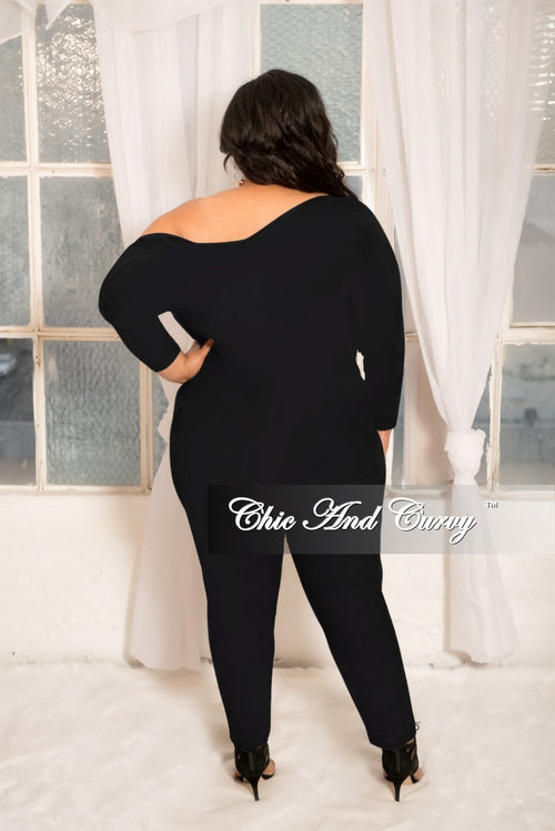 New Plus Size Off the Shoulder Jumpsuit with Silver Side Zipper in Black