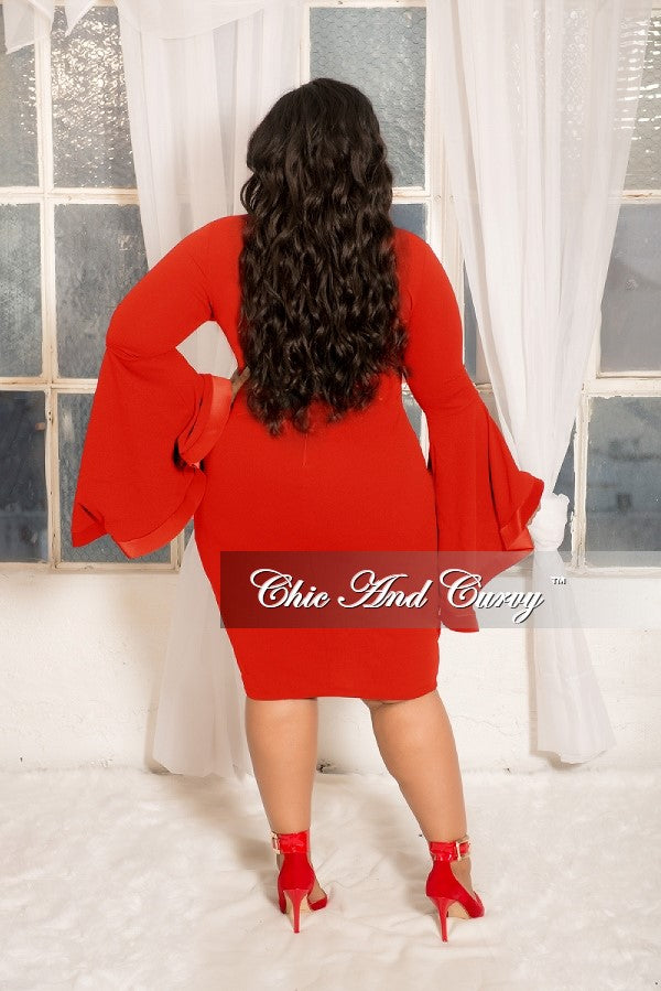 New Plus Size Deep V-Neck BodyCon Dress with Wide Bell Sleeves in Red