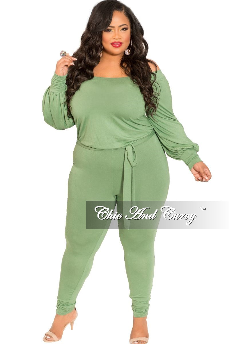 Final Sale Plus Size Long Sleeve Off The Shoulder Jumpsuit in Olive