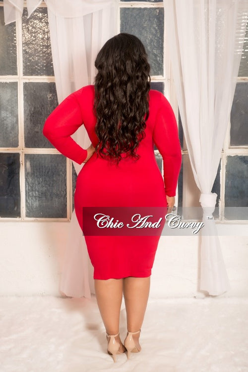 Final Sale Plus Size BodyCon Dress with Cutout and Neck Tie in Red