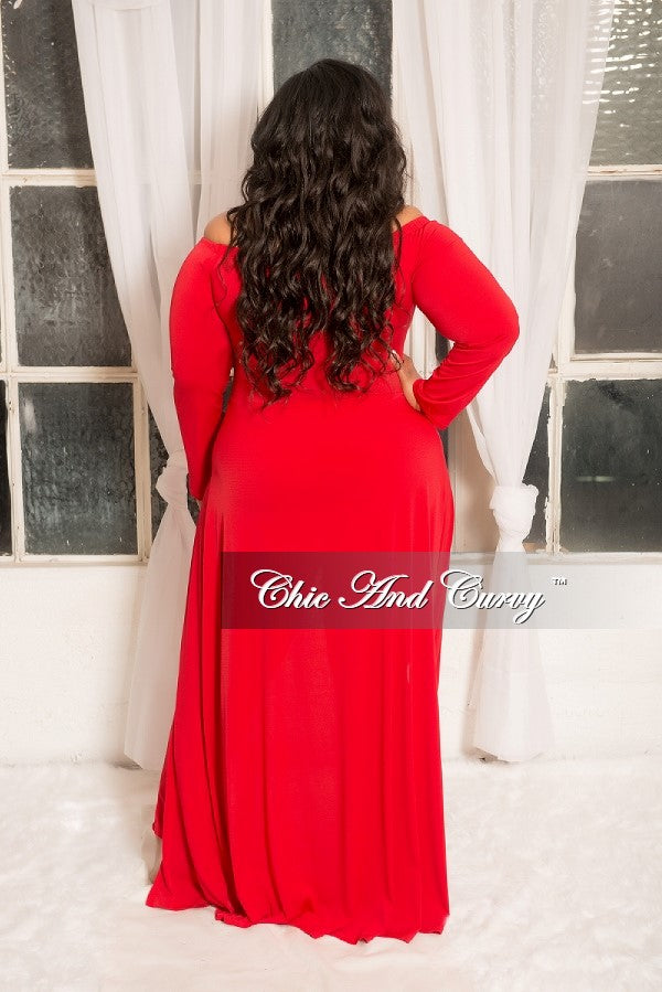 New Plus Size Off the Shoulder Jumpsuit with Attached Long Skirt in Red