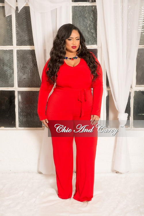 New Plus Size Jumpsuit with Attached Tie in Red