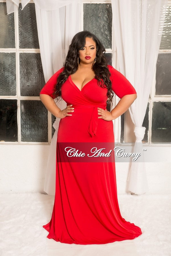 Final Sale Plus Size Faux Wrap Dress With 34 Sleeve And Attached