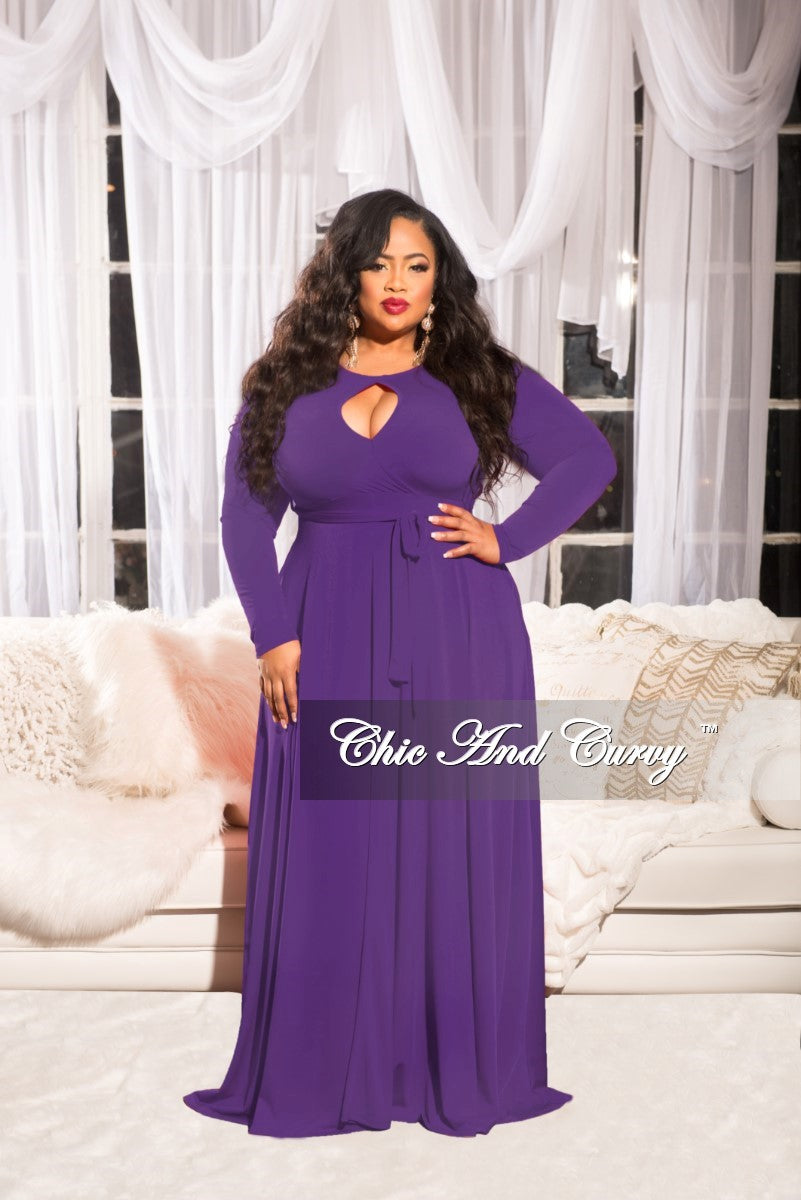 Final Sale Plus Size Long Dress with Attached Tie in Purple – Chic ...