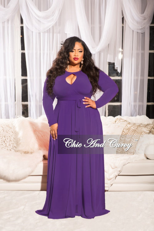 Final Sale  Plus Size Long Dress with Attached Tie in Purple